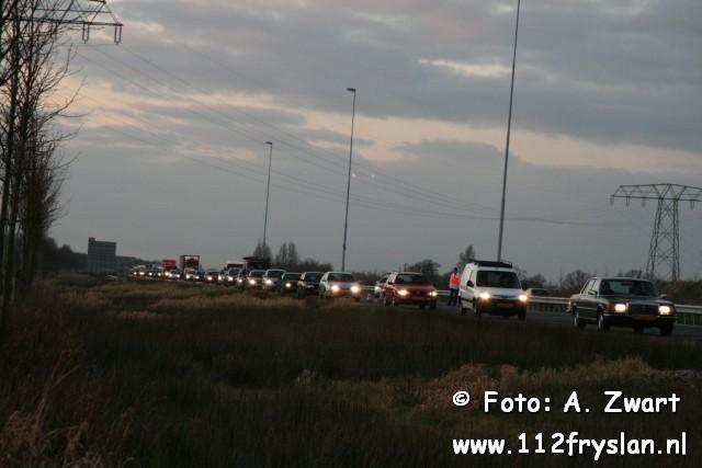 Auto over de kop A32 Akkrum -> KP Heerenveen