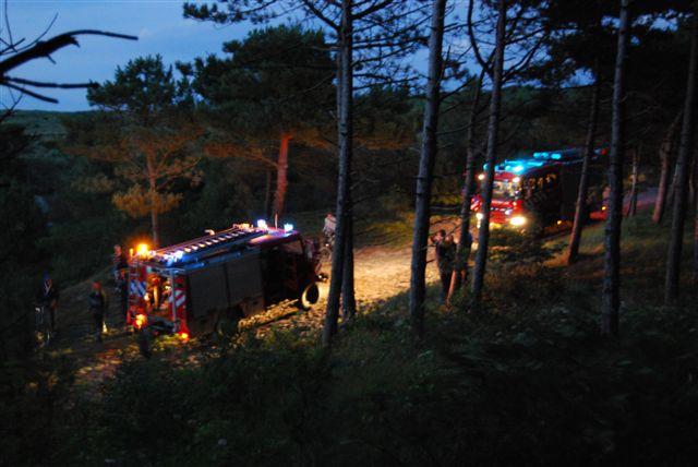Buitenbrand in bos op Vlieland
