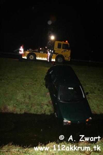 Auto belandt in sloot nabij Akkrum