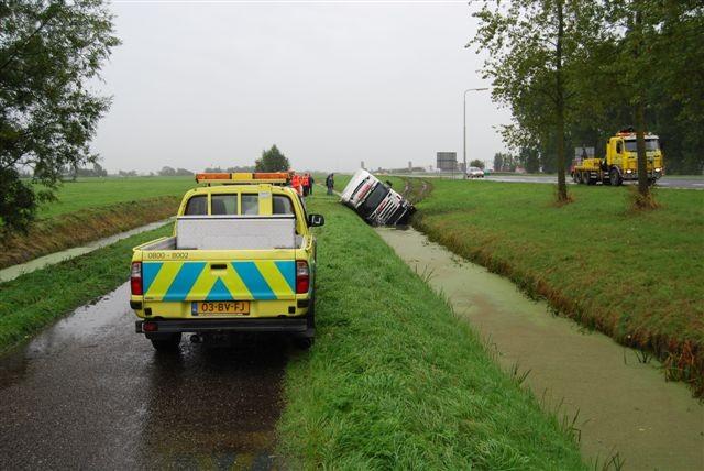 Vrachtauto in sloot Wirdum ( FILM )