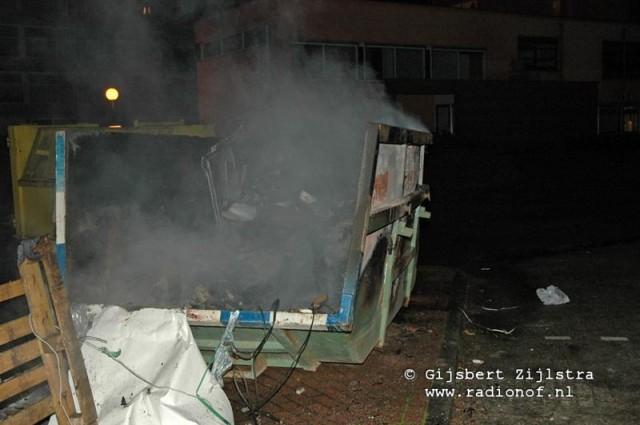 Containerbrand op het Kalkhusplein in Dokkum