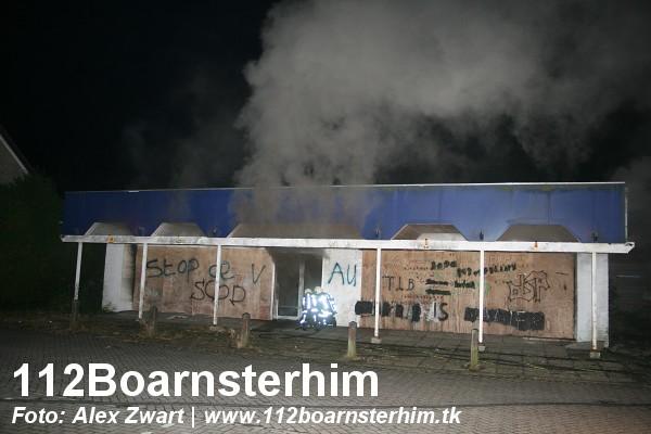 Middel brand in voormalig supermarkt Grou. (video)