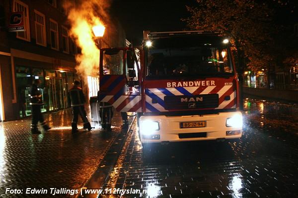 Prullenbak in brand in binnenstad