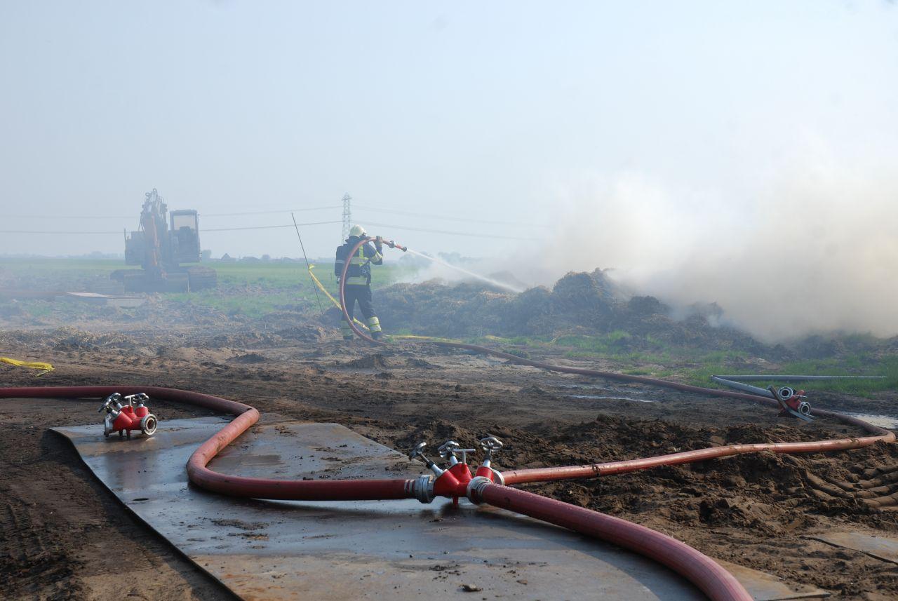 Hooibalen in de brand