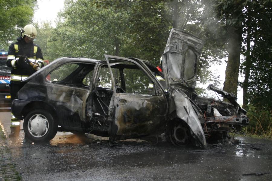 Auto vliegt in brand na aanrijding met boom