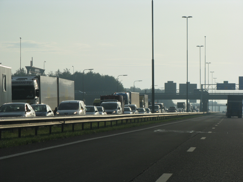 Kopstaart aanrijding op de A7 nabij Drachten