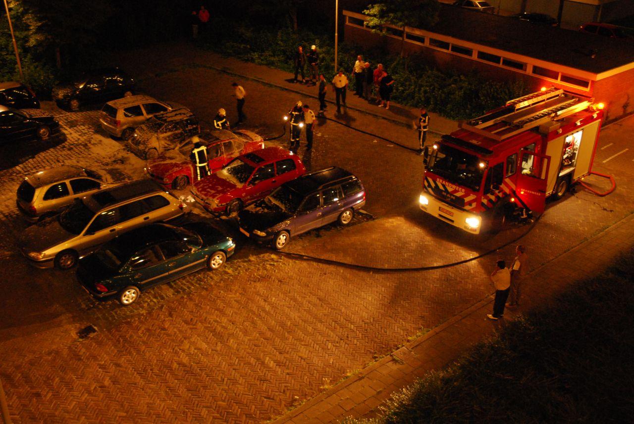 Auto op volle parkeerplaats uitgebrand