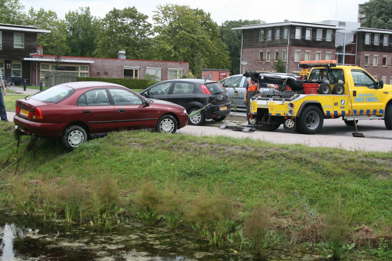 Auto in sloot Drie Dukatons