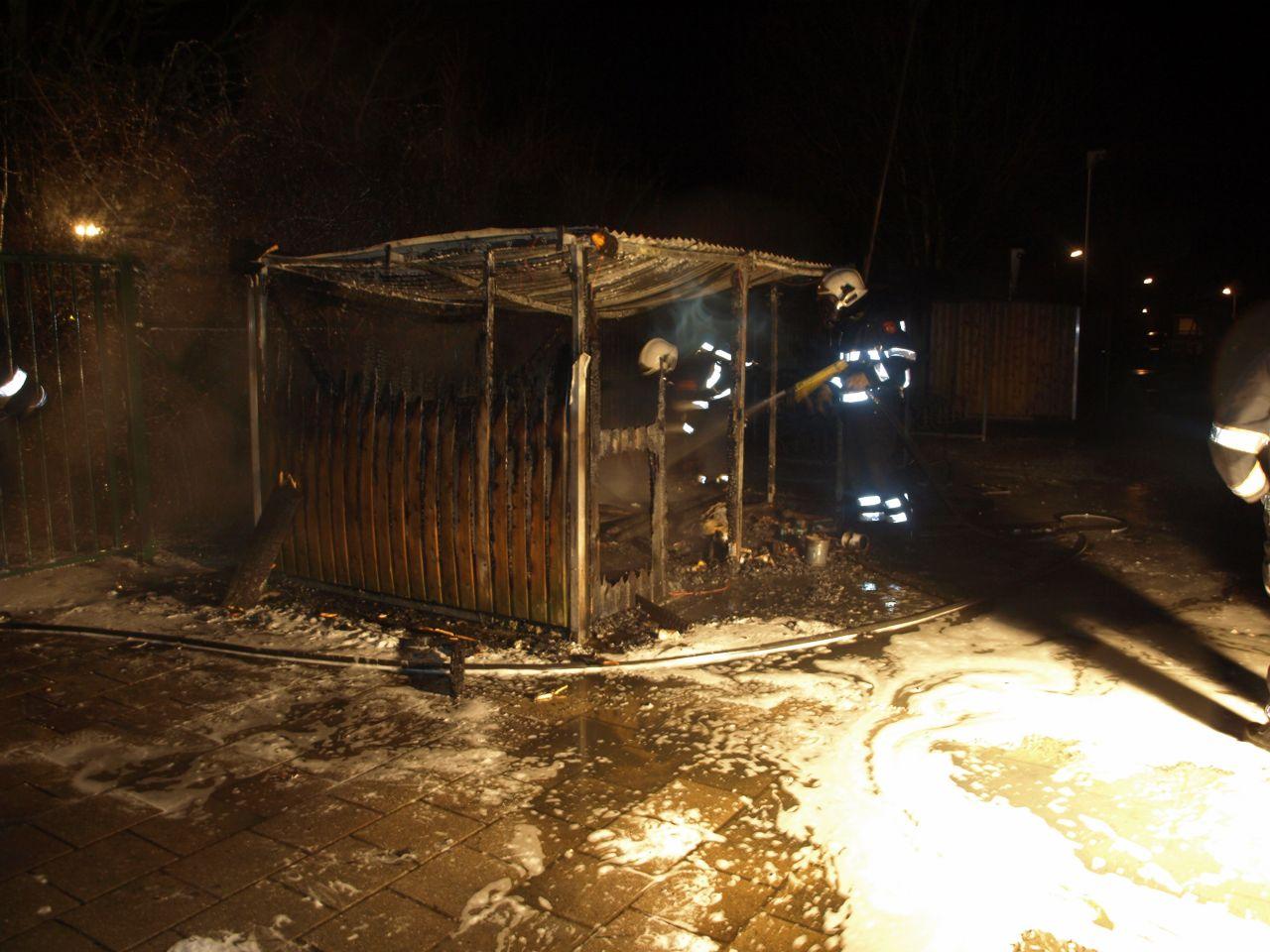 Fietsenhok brandt af