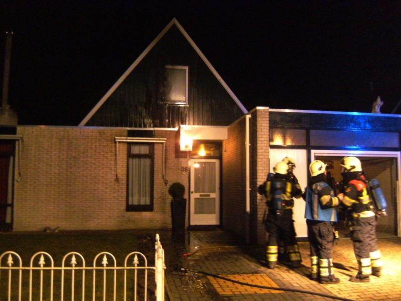 Woningbrand op de Woudhorne in Dokkum