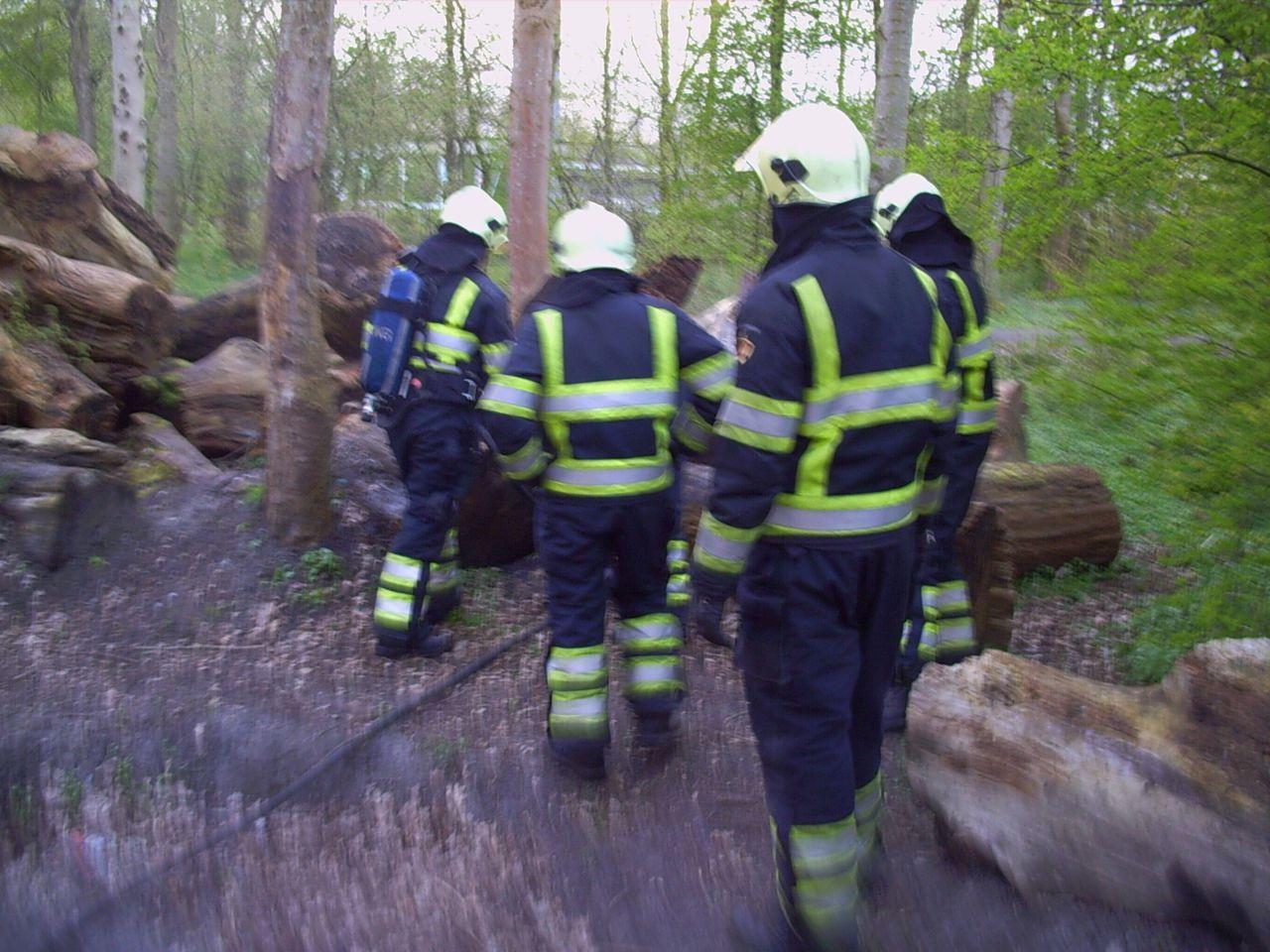 Brandweerinzet voor smeulende boomstam