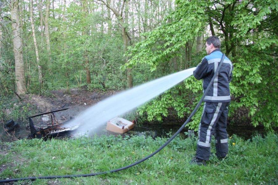 Bankstel in brand naast waterzuiveringsinstallatie