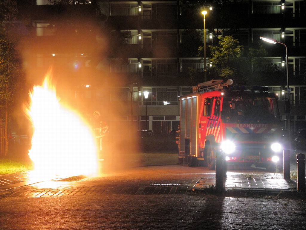 Bouwcontainer in brand