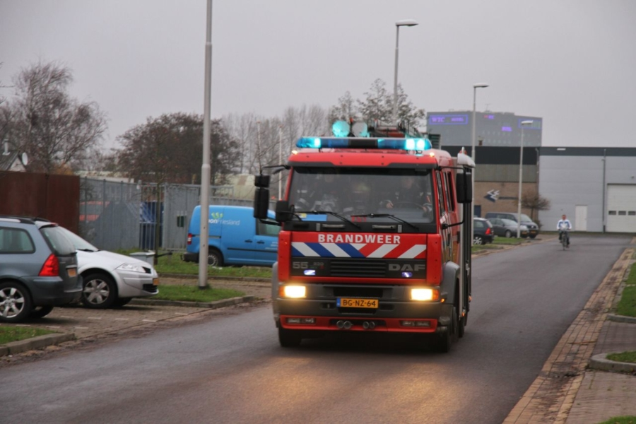 Container met staalwol in brand