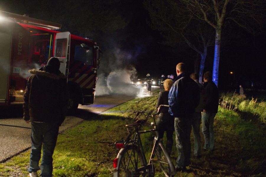 Aanhangwagen in brand