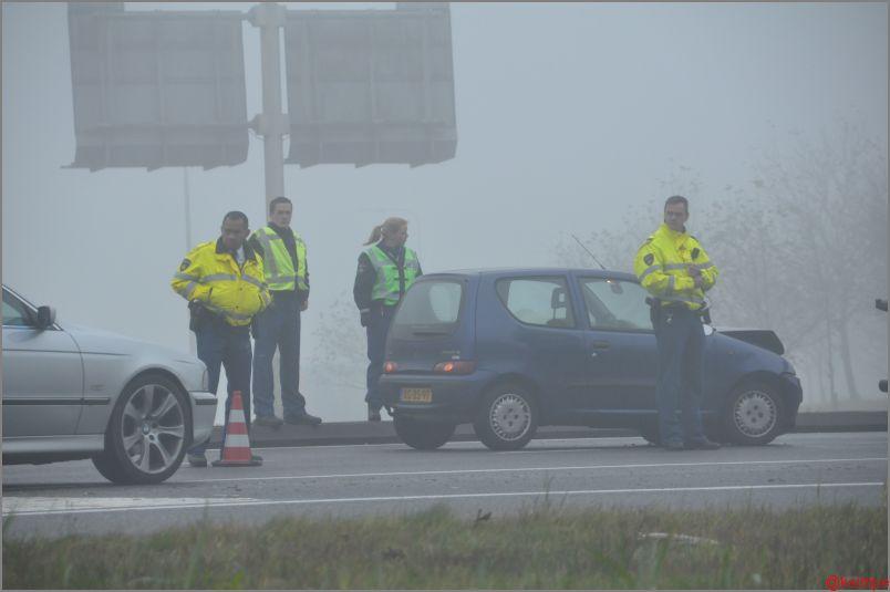 Gewonde bij ongeval in dichte mist op de A7