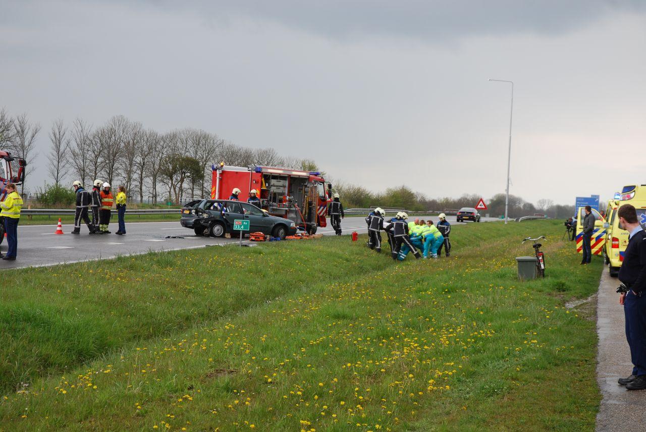 Zes auto's betrokken bij ongeval na hagelbui A31