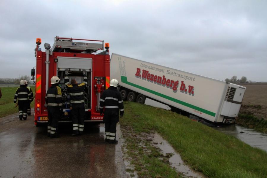 Vrachtwagen in de sloot