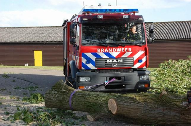 Brandweer in actie voor omgewaaide boom