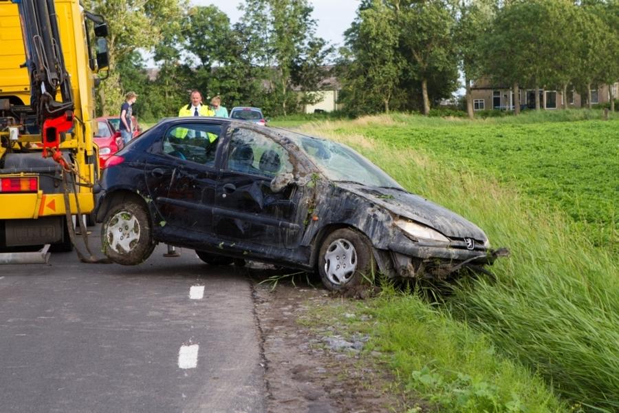 Auto belandt in weiland