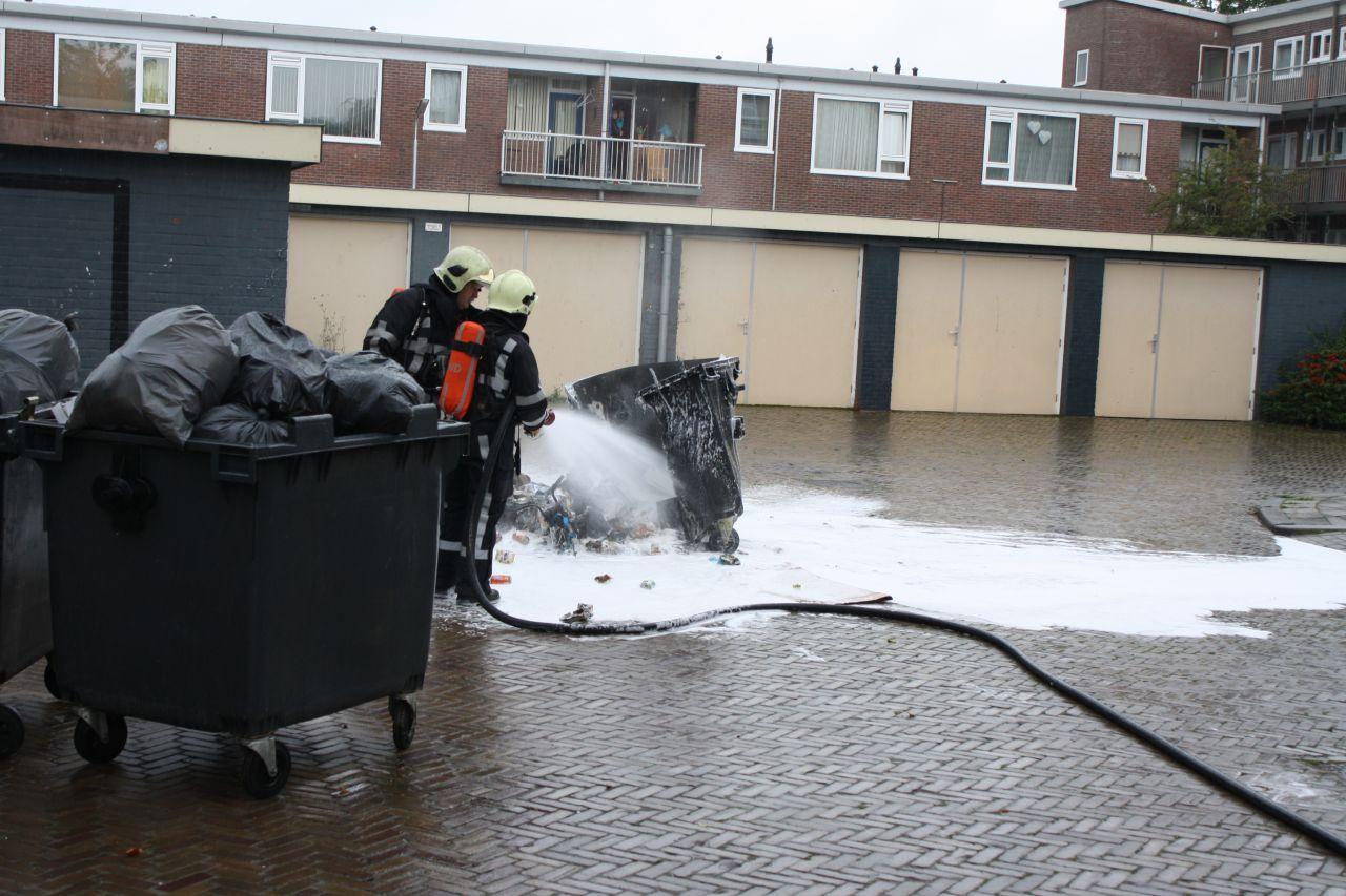 Container in brand door vuurkorf