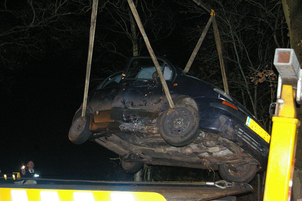 Auto in greppel na aanrijding met ree