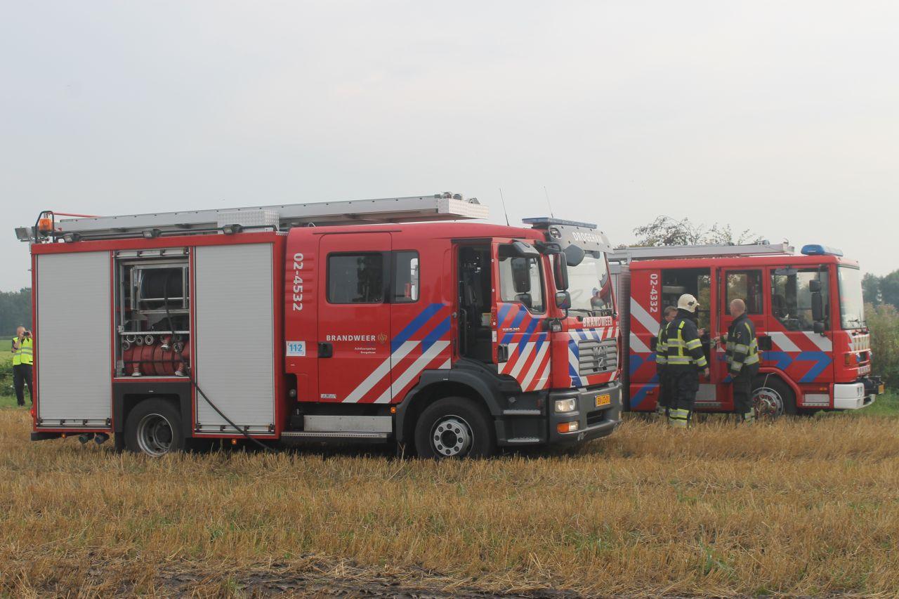 Landbouwkraan door brand verwoest