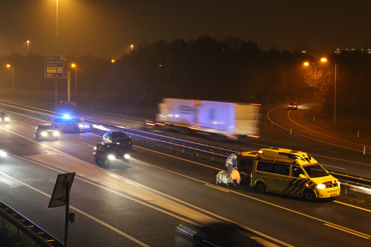 Lange file door ongevallen op A7 bij Drachten
