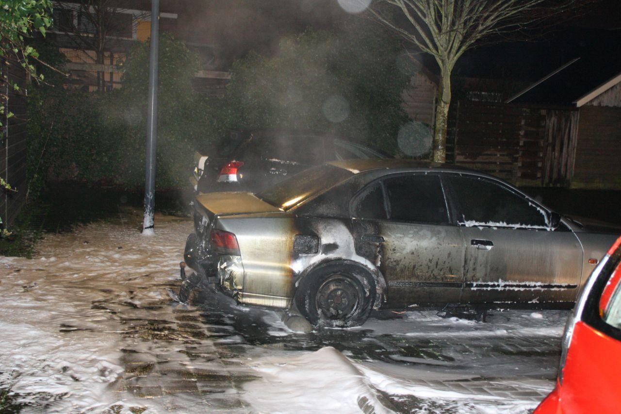 Geparkeerde auto in vlammen opgegaan