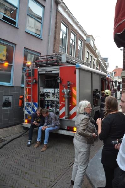 Brandweeroefening in binnenstad