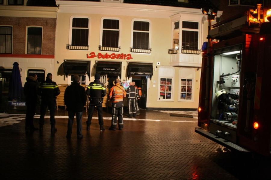 Klein brandje in café binnenstad