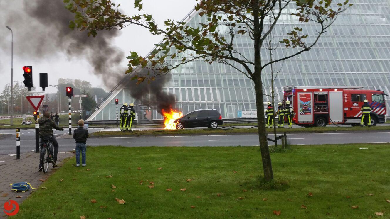 Auto vat vlam voor verkeerslicht