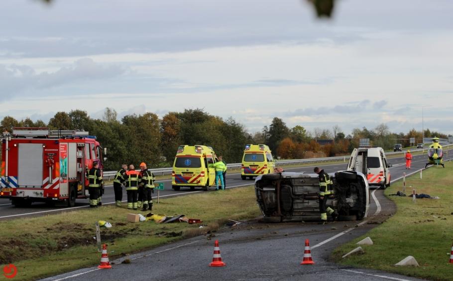 Vijf gewonden bij ernstig verkeersongeval N31