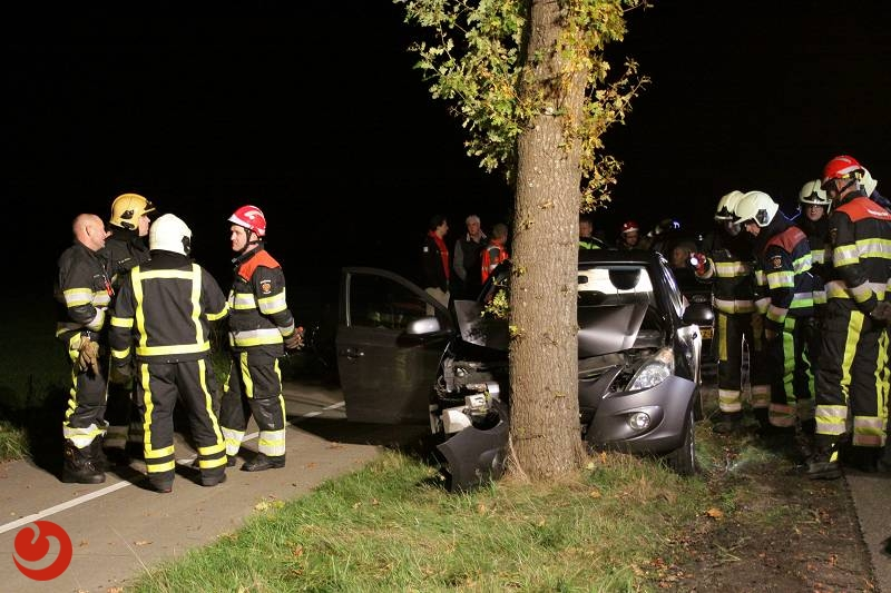 Auto tegen boom; twee gewonden