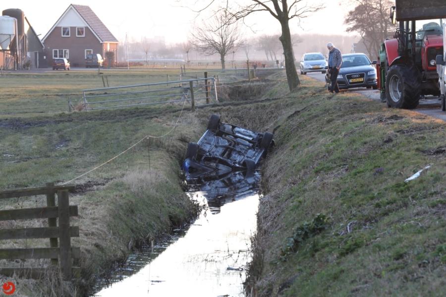 Auto raakt te water; twee gewonden