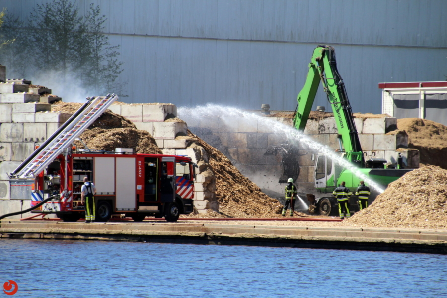 Houtsnippers in brand