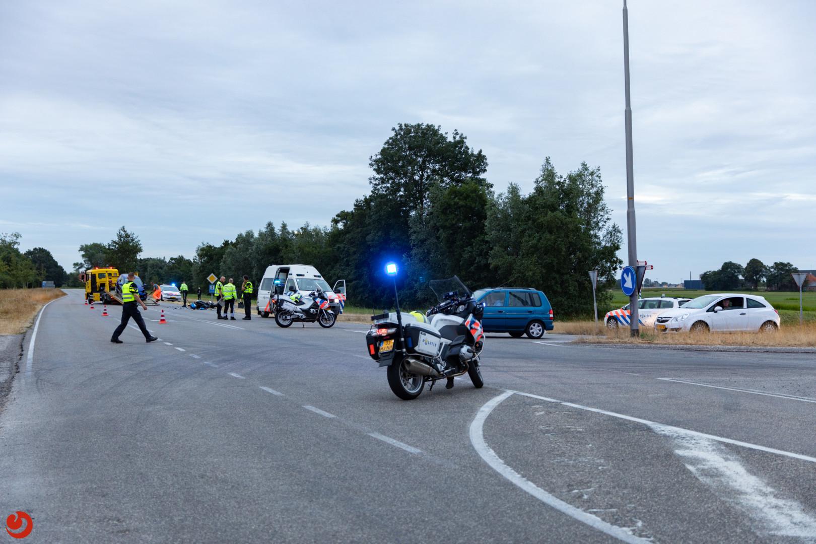 Motorrijder ernstig gewond bij botsing met auto