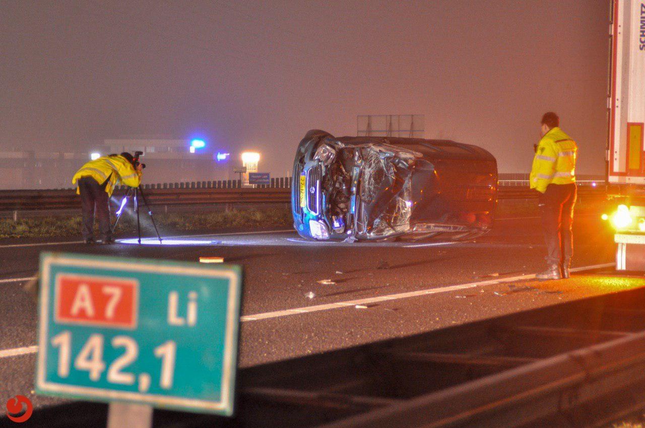 A7 richting Joure dicht door ongeval met vrachtwagen