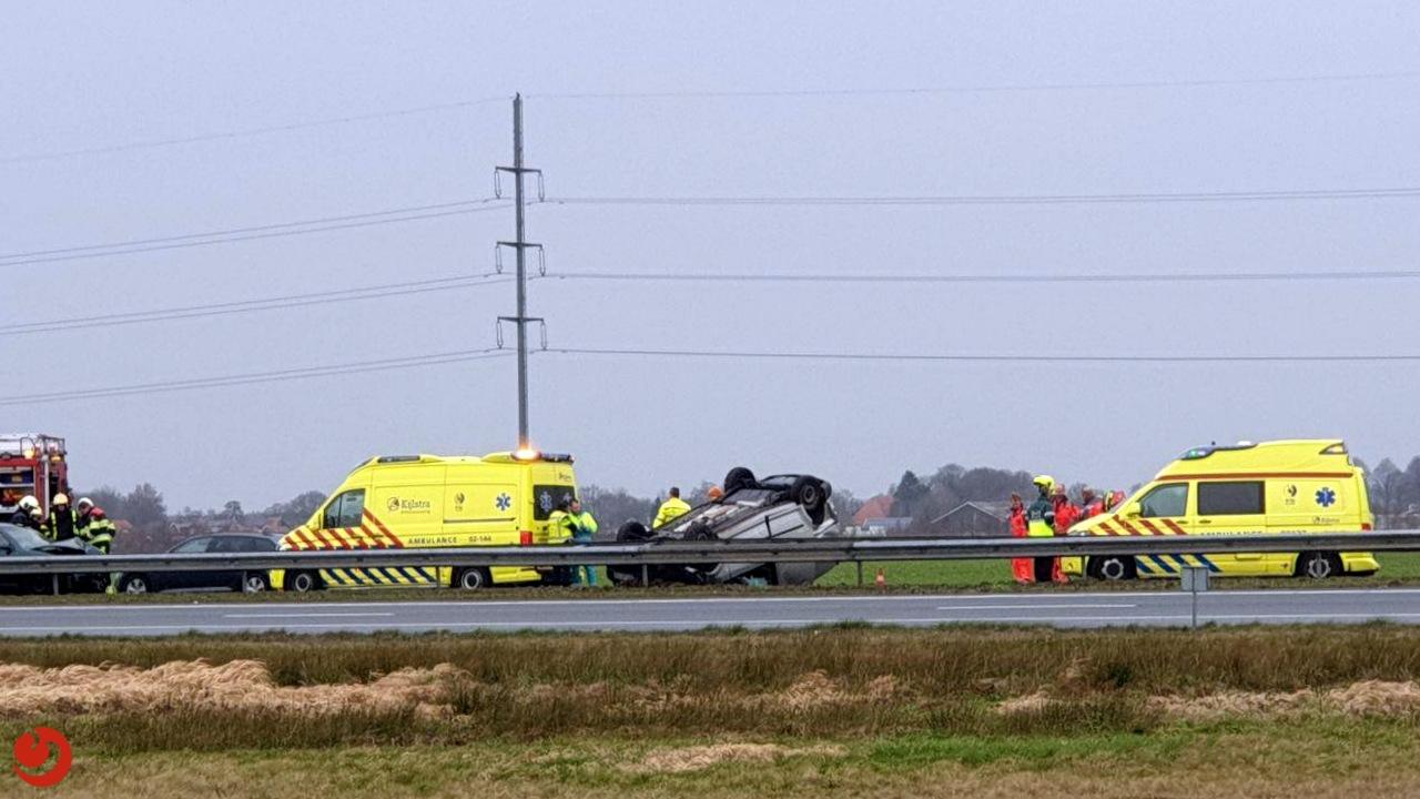 Drie gewonden bij ernstig ongeval A7