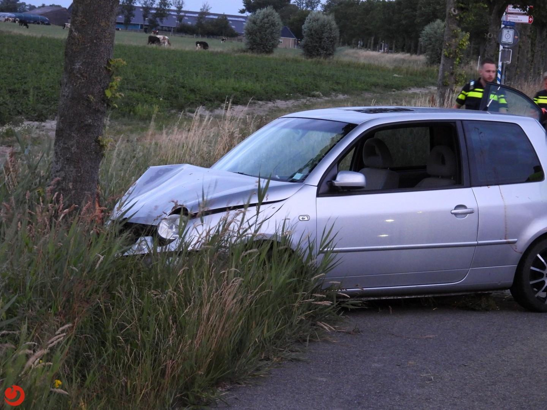 Auto botst tegen boom; bestuurder gewond