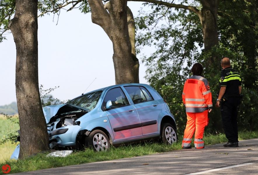 Ernstig gewonde bij auto tegen boom