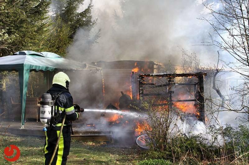 Stacaravan verwoest door brand