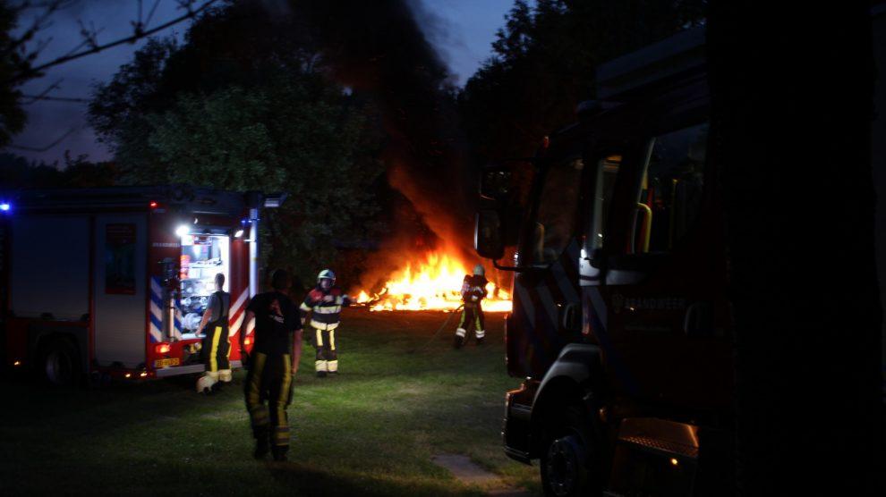 Felle brand verwoest caravan