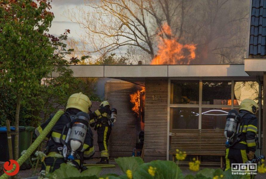 Felle brand in sauna naast woning