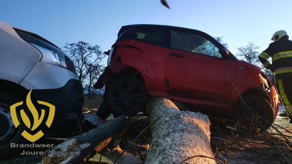 Auto's botsen op omgevallen boom