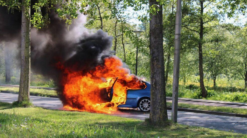 Auto botst tegen boom en vliegt in brand; één gewonde in Leeuwarden