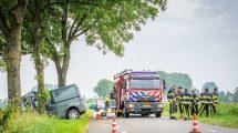 Automobiliste botst met bestelbus tegen boom in Echten
