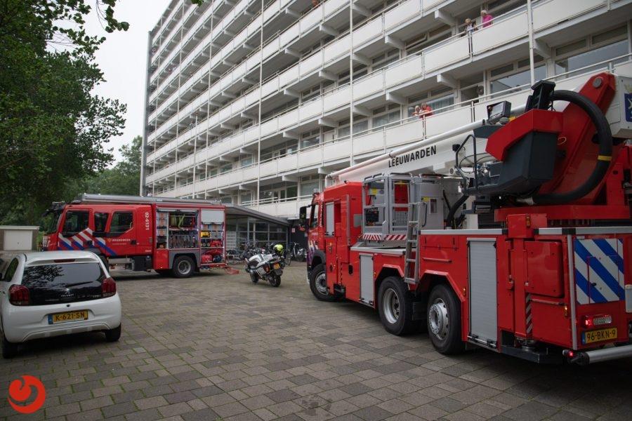 Brandmelding op negende verdieping van flat in Leeuwarden