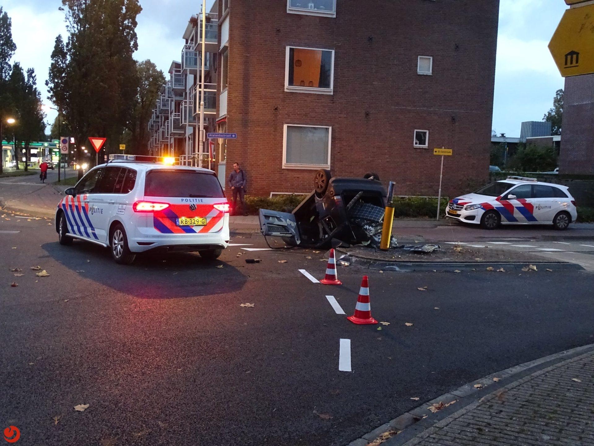 Brommobiel over de kop in Heerenveen