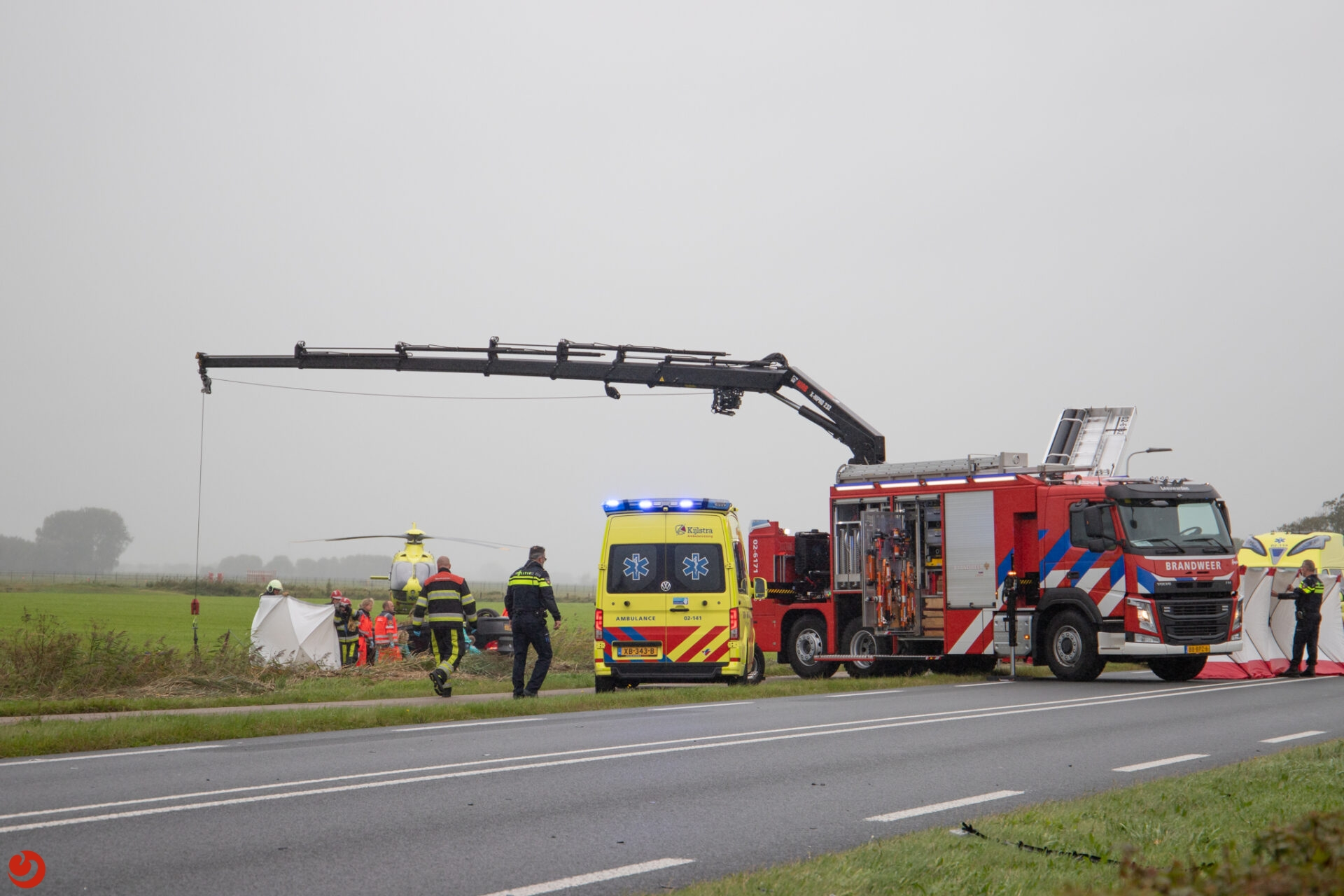 Twee gewonden bij ernstig ongeval N357 Jelsum.